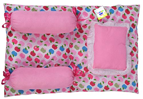 Toddylon New Born Baby 4 Pcs Bedding Set Sleeping Essential Mattress with Pillows (0-6 Months) Pink