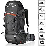 Cheap TERRA PEAK Adjustable Hiking Backpack 55L/65L/85L+20L for Men Women With Free Rain Cover Included Black Navy Green and Dark Grey (Graphite/Orange 65L+20L)