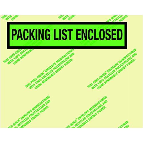 Ship Now Supply SNPQGREEN19 EnvironmentalPacking List Enclosed Envelopes 7 x 5 1/2 5width 7 Length Green (Pack of 1000)