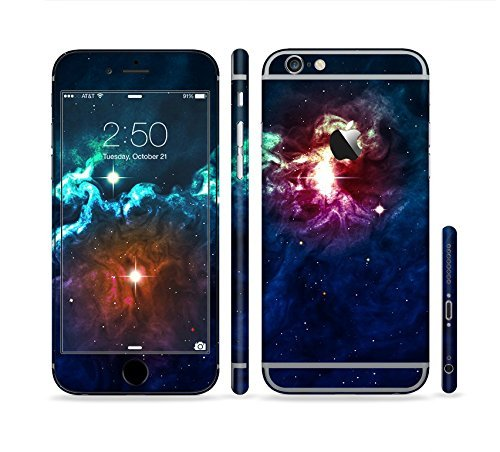 The Glowing Colorful Space Scene Sectioned Skin Set for the Apple iPhone 6 Plus