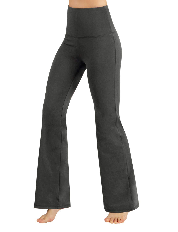 ODODOS Power Flex High Waist Boot-Cut Yoga Pants Tummy Control Workout Non See-Through Bootleg Yoga Pants,Gray,Large