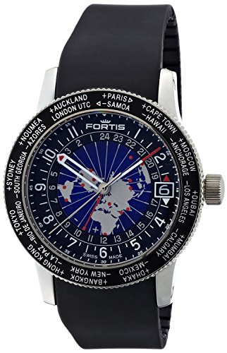 Fortis Men's 674.21.11 K B-47 Worldtimer GMT Swiss Automatic Bidirectional Bezel Black Silicone GMT Date Watch