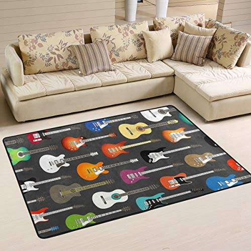 Fantasy Star Play Mat for Kids - Color Acoustic and Electric Guitars Background Area Rug Carpet Non-Slip Floor Mat Doormats for Living Room Bedroom 72 x 48 inches - Baby Mats for Playing/Crawling