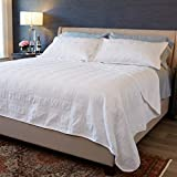 Terra Collection 3-Piece Luxury Quilt Set with Shams. Soft All-Season Microfiber Bedspread & Coverlet in Solid Colors with Embroidered Box Design. By Home Fashion Designs Brand.