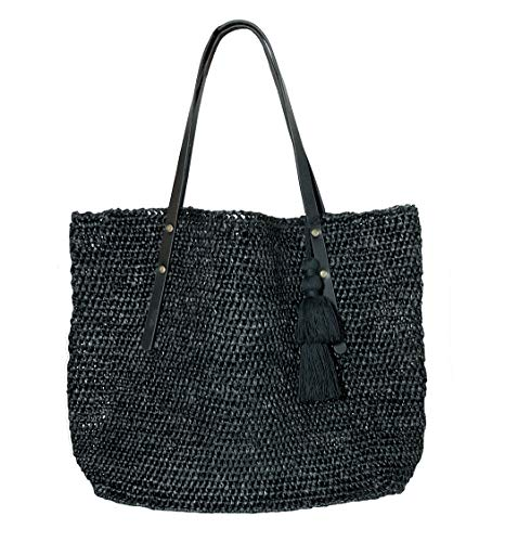 Raffia Straw Tote Leather Shoulder Bag Womens (Black/Black) ()