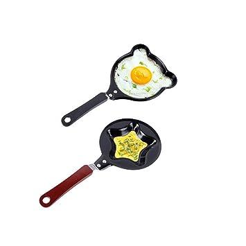 Fiva BEE 2 piezas Mini huevo antiadherente y sartén, bonita forma de dibujos animados para hacer tortitas para cocina, revestimiento de cerámica de 4,7 ...