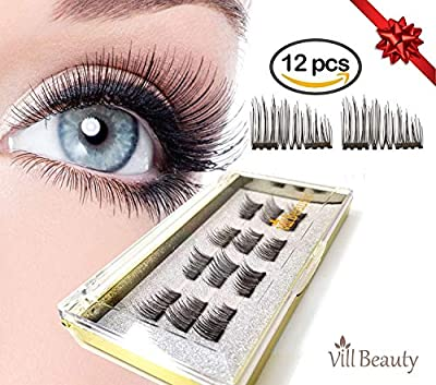 12 PCS Upgraded Magnetic Eyelashes, Best Magnetic Eyelashes, Ultra Thin Dual Magnetic Eyelashes, Natural Look, Upgrade Fiber and Reusable Magnetic Eyelashes, Best 3D Magnetic Eyelashes for 2018