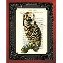 Owl Pilot wall decor antique woodland illustration decorative bird art print on dictionary page artwork