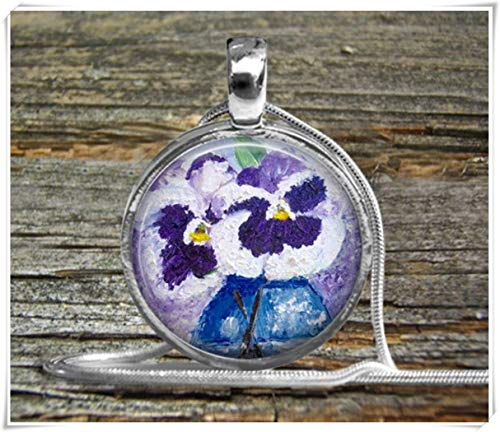 Fashion cool jewelry Pansies Necklace , Oil Painting Pendant Necklace, Pansies Flower Pendant,Dome Glass Ornaments, Pure Hand-Made ()