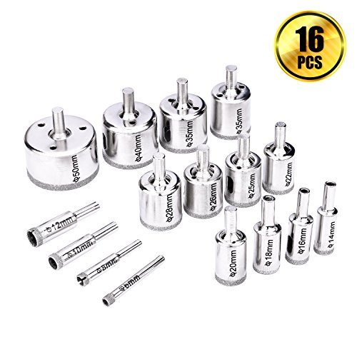 Diamond Drill Bits, BTNOW 16 PCS Hollow Core Drill Bit Set for Ceramics, Porcelain Tile, Glass, 1/4 Inch to 2 Inch