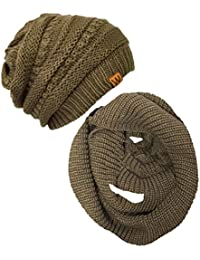 Winter Warm Knitted Infinity Scarf and Beanie Hat Set