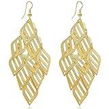 Women's Gold Plate Leaves Chandelier Tiered Dangle Earrings Filigree Drop Polished French Wire Earrings