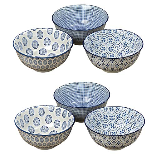 WHW Whole House Worlds Summertime Blue and White Rice Bowls, Set of 6, 2 Trellis, 2 Rounds and 2 Stripes, Footed Base, Stoneware, 8 Fluid Ounces