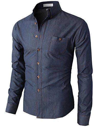 H2H Mens Polka Dots Printed Fancy Button-down Shirts NAVY US S/Asia M (KMTSTL0345)