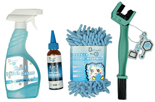 Jecr Bike Easy Care Kit - 4in1 Bicycle Cleaning Tool Set - Includes Micro Fiber Wash Mitt, Heavy Duty Chain Brush, 3in1 Chain Lube, and Polish Cleaner - Complete Cycling Wash Kit by Jecr (Image #1)