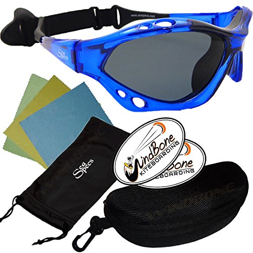 SeaSpecs Classic Cobalt Specs Blue Extreme WaterSports Floating Sunglasses w Semi Rigid Case Bundle (5 Items)+ Flex Clip Case + Soft Carry Pouch + Lens Cloth + WindBone Kiteboarding Lifestyle ()