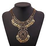 Lanue Ethnic Boho Gypsy Antique Bib Chunky Tassel Collar Choker Festival Coin Necklace (Gold)