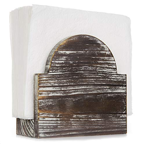 MyGift Rustic Torched Wood Arched Tabletop Napkin Holder (Napkin Wooden Holders)