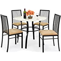 Best Choice Products 5-Piece Faux Marble Top Dining Table...