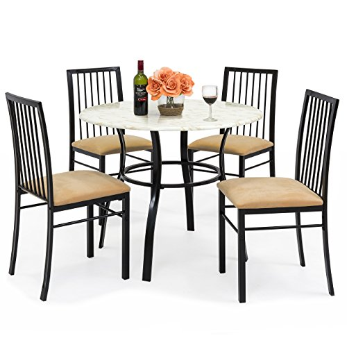 Marble Round Dining Table Set - Best Choice Products 5-Piece Faux Marble Top Dining Table and Chairs Set