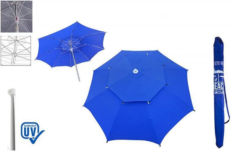 Sombrillas Marquesinas Y Toldos Sombrilla De Playa Color Azul Con Funda Para El Transporte Jardín Dayleasing Com