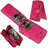 Eloiro iPhone 7 Plus Case, Premium Leather Zipper Wallet Carrying Case Detachable Flip Holster Protective Button Closure Clutch Cover with Multiple Card Holder and Hand Strap for iPhone 7Plus Pink