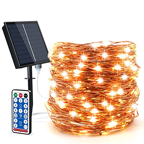 Solar String Lights Outdoor-Solar Fairy Lights 100ft 300LED 8 Modes Waterproof IP65 Twinkle Lighting Indoor Outdoor Fairy Firefly Lights with Remote, for Patio Garden Yard Party (Warm White)