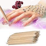 100Pcs Nail Art Wood Stick, Fenleo Cuticle Pusher Remover Pedicure Manicure Tool