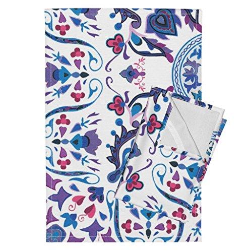 Roostery Tile Scandinavian Rosemaling Folk Winter Swedish Floral Tea Towels Sweet Ramona ~ Folk Art Tile ~ by Peacoquettedesigns Set of 2 Linen Cotton Tea Towels