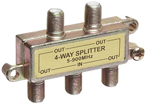 Four-Way Splitter with Mounting Hardware, 5-900 MHz - 900 Mhz Splitter