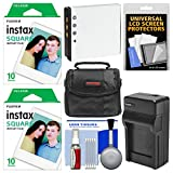 Essentials Bundle for Fujifilm Instax SQ10 Instant Film & Digital Camera with 20 Square Prints + Battery & Charger + Cleaning Kit