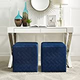 Inspired Home Alexis Blue Velvet Cube Ottoman - Quilted | Upholstered | Living Room, Entryway, Bedroom