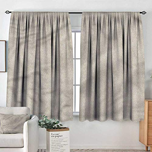 (PriceTextile Taupe and White,Modern Kids Curtain Ottoman Foliage 42