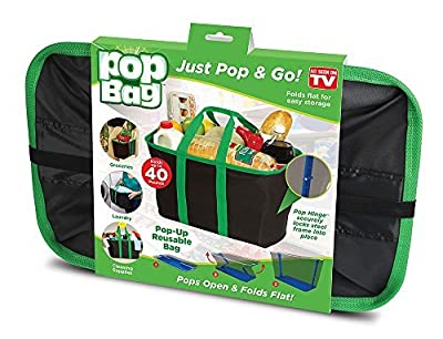 Pop Bag: Eco-Friendly, Collapsible, Reusable Shopping/Storage Bag - Holds Up To 40 Lbs
