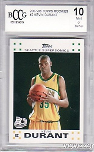 (2007/08 Topps #2 Kevin Durant ROOKIE BECKETT 10 MINT Graded BECKETT 10 MINT ! High Grade Rookie Card of Golden State Warriors MVP Superstars! Shipped in Ultra Pro Graded Card Sleeve to Protect it !)