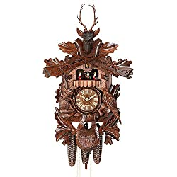 German Cuckoo Clock 8-day-movement Carved-Style 23.00 inch - Authentic black forest cuckoo clock by Hekas