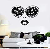 Evan332Eddie Vinyl Decal Sexy Woman Face Glasses Lips Girl Beauty Salon Wall Sticker