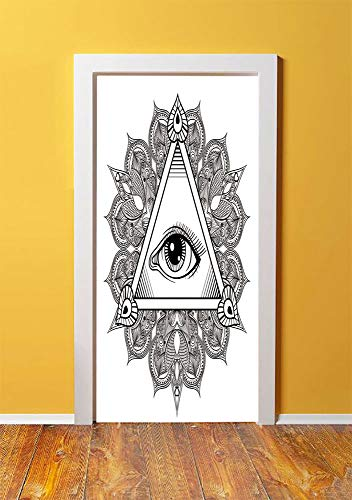 Eye 3D Door Sticker Wall Decals Mural Wallpaper,Vintage All Seeing Eye Tattoo Symbol with Boho Mandala Providence Spirit Occultism,DIY Art Home Decor Poster Decoration 30.3x78.4261,Black White