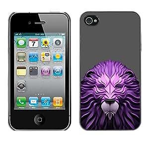 TopCaseStore / la caja del caucho duro de la cubierta de protección de la piel - Paper Wood Lion Gray Animal King - Apple iPhone 4 / 4S