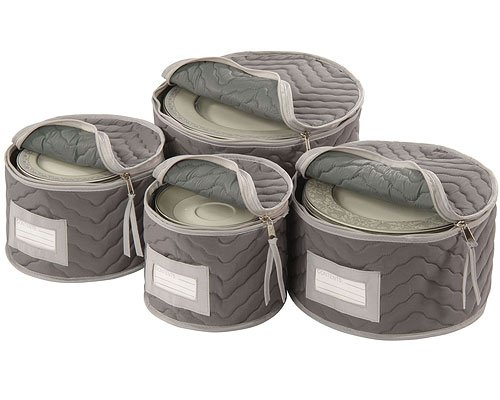 icro Fiber Deluxe Plate Case, Set of 4-Grey (Food Safe Decorative Plate)