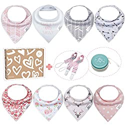 💝Bossy Sassy 8 Pack Baby Bandana Bibs Girls Gift Set💝 8 X Bandana Bibs 2 X Pacifier Clips 1 X Multifunctional Pacifier/Pacifier Clip Case 1 X Exquisite Gift Box 👶Materials for Baby Bibs : Organic Cotton👶  Natural or Eco-Friendly Choices - The classic...