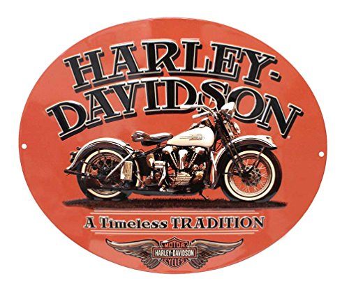 (Harley-Davidson Embossed Timeless Vintage Motorcycle Tin Sign, Orange 2010781 )