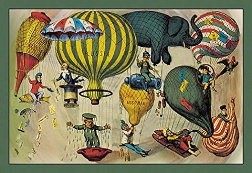 Balloonists as Symbols of Nationalism - Elephant spool and balloons of various shapes a harbinger of modern balloon art Each balloon had a countrys name upon it with a symbolic leader hanging on belo -