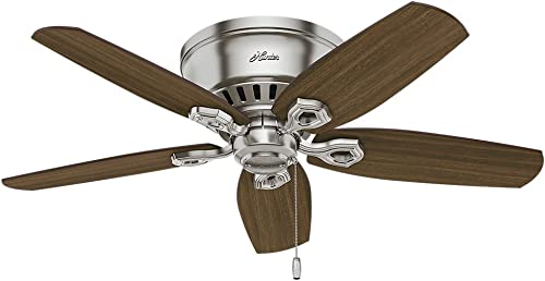 Hunter Builder Indoor Low Profile Ceiling Fan with LED Light and Pull Chain Control, 42 , Brushed Nickel