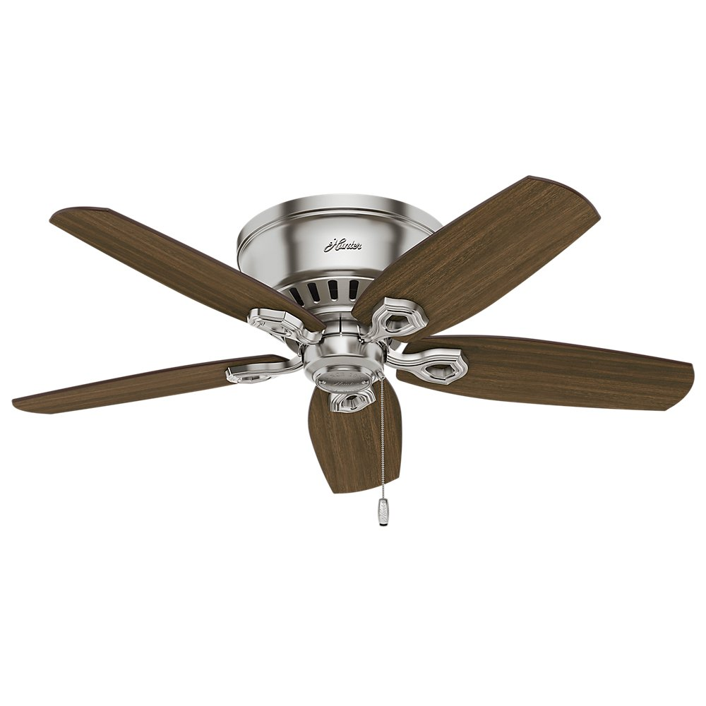 Hunter 51092 42 Builder Low Profile Ceiling Fan With Light Brushed Nickel Com