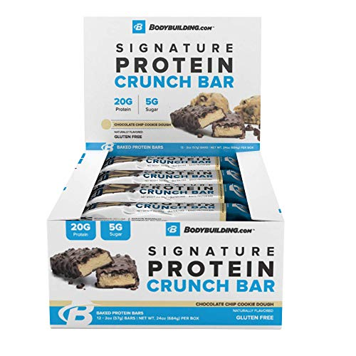 Bodybuilding.com Chocolate Chip Cookie Dough Signature Protein Crunch Bar | 20g Whey Protein Low Sugar | Gluten Free No Artificial Flavors | 12 Bars