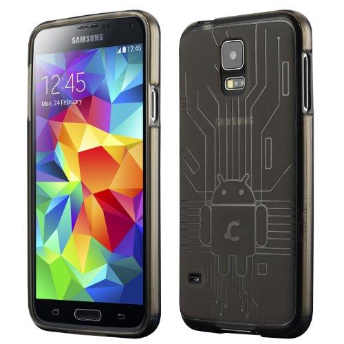 Galaxy S5 Case, Cruzerlite Bugdroid Circuit TPU Case Compatible with Samsung Galaxy S5 - Smoke (Gs5 Case Custom)