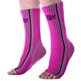 Doc Miller Premium Ankle Brace Compression Support Sleeve for Plantar Fasciitis Achilles Tendonitis Injury Recovery Joint Pain Swollen Feet Socks Foot Tendon Ligament Fractures (Solid Pink, Medium)