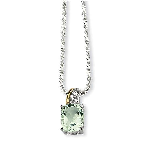 dcd8d677a9ed Plata esterlina y 14ct amatista verde y diamantes en bruto - collar ...