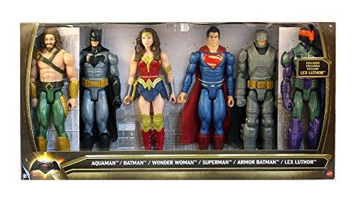 "DC Batman v Superman: Dawn of Justice Aquaman, Batman, Wonder Woman, Superman, Armor Batman & Lex Luthor 12"" Action Figure 6-Pack"